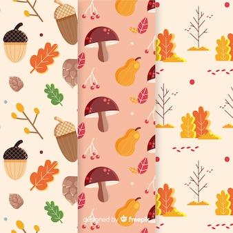 Kolekcja elementów jesień wzór płaska konstrukcja