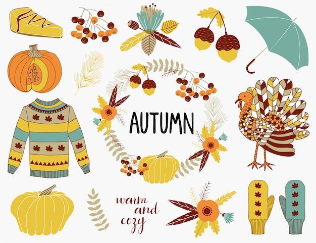 Kolekcja elementów jesieni.
