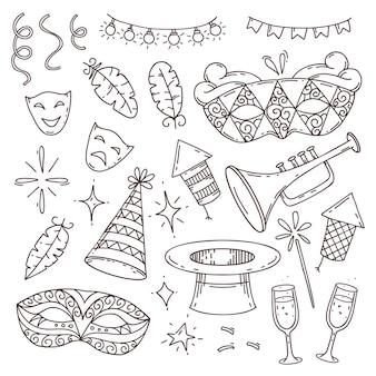 Kolekcja elementów karnawału w stylu bazgroły na białym tle, symbole weneckiego karnawału