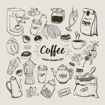 Kolekcja elementów kawy