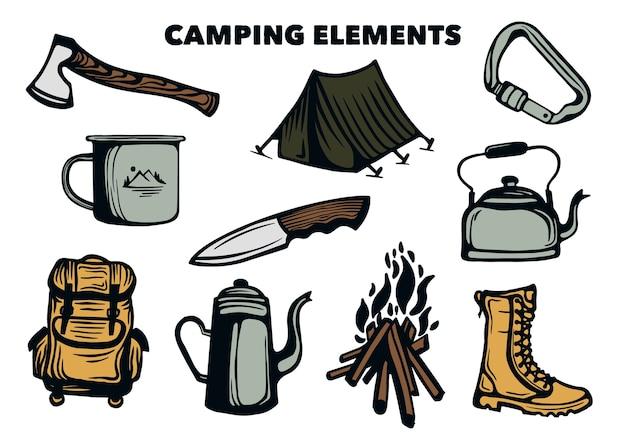 Kolekcja elementów kempingowych i zestawu narzędzi turystycznych