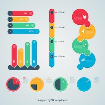 Kolekcja elementów kolorowych infographic w płaski