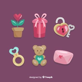 Kolekcja elementów kolorowych valentine