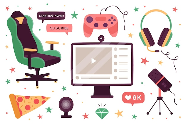 Kolekcja elementów koncepcji organicznych płaskich gier streamer