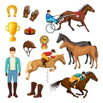 Kolekcja elementów kreskówka jeździectwo