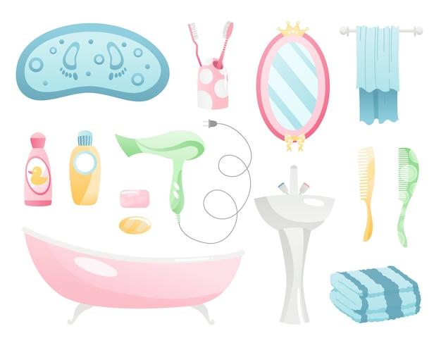 Kolekcja elementów kreskówka łazienka.
