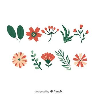 Kolekcja elementów kwiatowych
