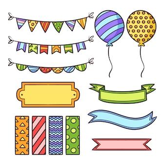 Kolekcja elementów ładny notatnik urodziny