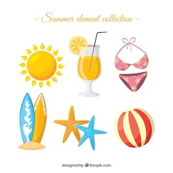 Kolekcja elementów lato z ubrania i jedzenie w stylu płaski