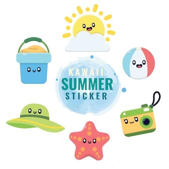 Kolekcja elementów letnich naklejek kawaii