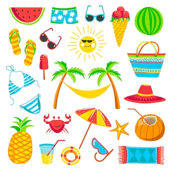 Kolekcja elementów letnich podróży