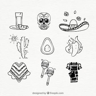 Kolekcja elementów meksyku