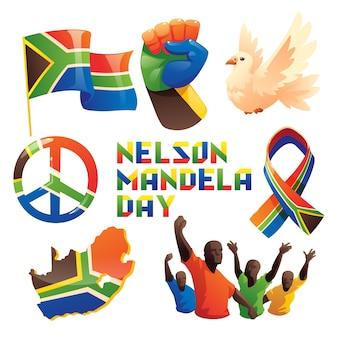Kolekcja elementów międzynarodowego dnia kreskówka nelson mandela