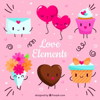 Kolekcja elementów miłości z płaskiej konstrukcji