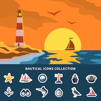 Kolekcja elementów morskich