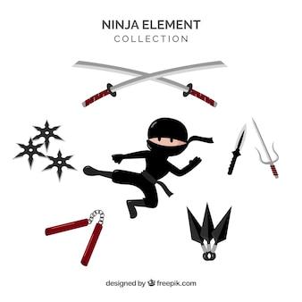 Kolekcja elementów ninja o płaskiej konstrukcji