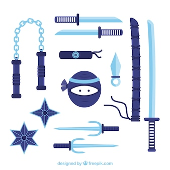 Kolekcja elementów ninja