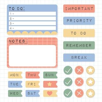 Kolekcja elementów notatnik ładny planner