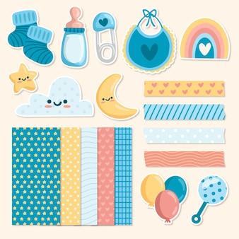 Kolekcja elementów notatnika baby shower