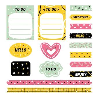 Kolekcja elementów notatnika creative planner