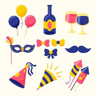 Kolekcja elementów noworocznych imprez