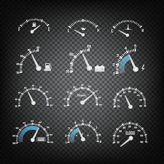 Kolekcja elementów panelu sterowania deski rozdzielczej samochodu