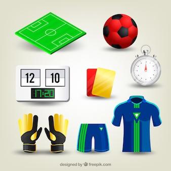 Kolekcja elementów piłkarskich w realistycznym stylu