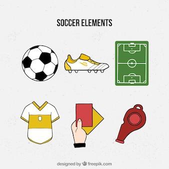 Kolekcja elementów piłkarskich w stylu wyciągnąć rękę
