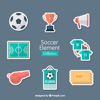 Kolekcja elementów piłkarskich z wyposażeniem