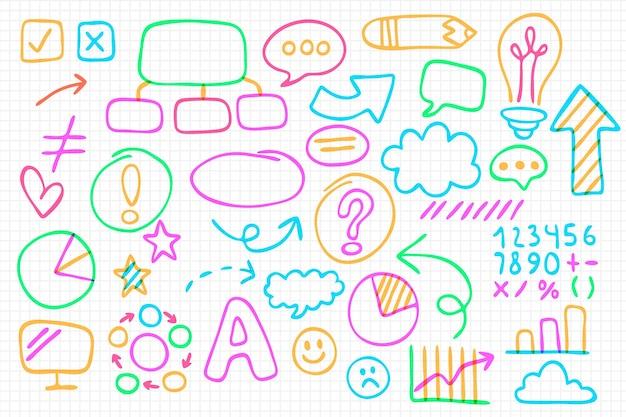 Kolekcja elementów plansza szkoły z kolorowymi markerami