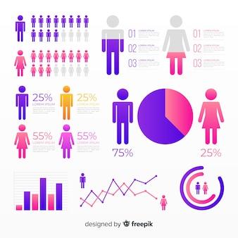 Kolekcja elementów płaskich infographic gradientu