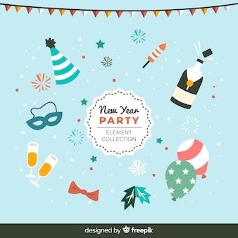Kolekcja elementów płaskich nowy rok party