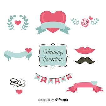 Kolekcja elementów płaskich ślubu
