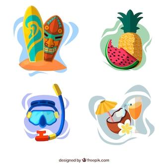 Kolekcja elementów plaży z ubrania i jedzenie