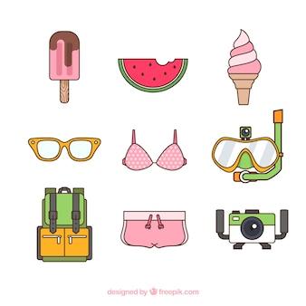 Kolekcja elementów plaży z ubrania w stylu wyciągnąć rękę
