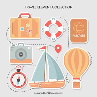 Kolekcja elementów podróży o płaskiej konstrukcji