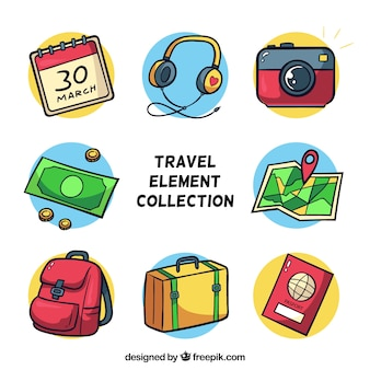 Kolekcja elementów podróży w stylu wyciągnąć rękę