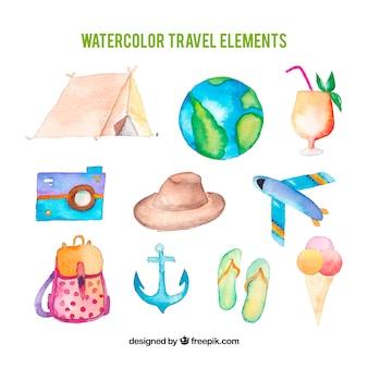 Kolekcja elementów podróży