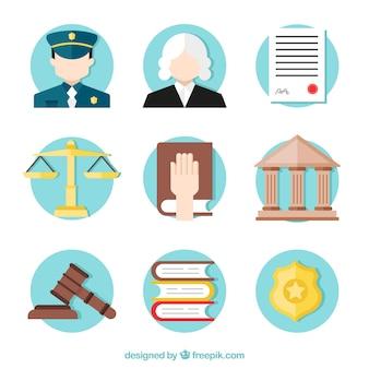 Kolekcja elementów prawa i wymiaru sprawiedliwości z płaskim wzorem