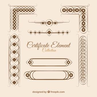 Kolekcja elementów retro certyfikatu