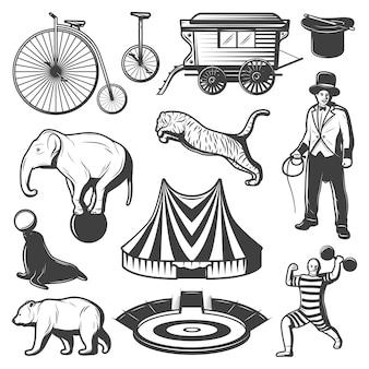 Kolekcja elementów rocznika cyrku