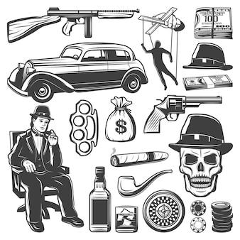 Kolekcja elementów rocznika gangstera z don broni samochód pieniądze marionetka whisky fajka cygaro czaszka golonka czapka ruletka chipy na białym tle