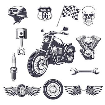 Kolekcja elementów rocznika motocykla