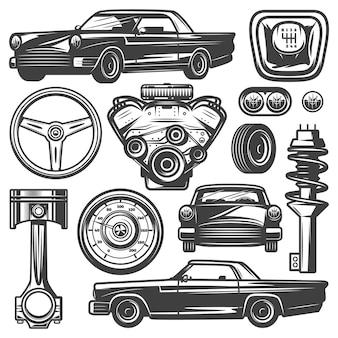 Kolekcja elementów rocznika samochodu z silnikiem samochodowym tłok kierownica opona reflektory prędkościomierz skrzynia biegów amortyzator na białym tle