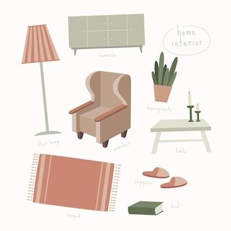 Kolekcja elementów salonu tworzących domowy komfort: meble, kwiat w doniczce, książka, dywan, lampa podłogowa. ilustracja w modnym stylu płaski na na białym tle.