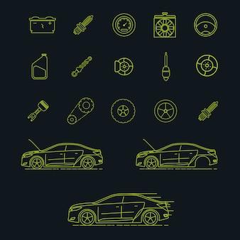 Kolekcja elementów samochodowych