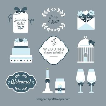 Kolekcja elementów ślubnych płaska konstrukcja