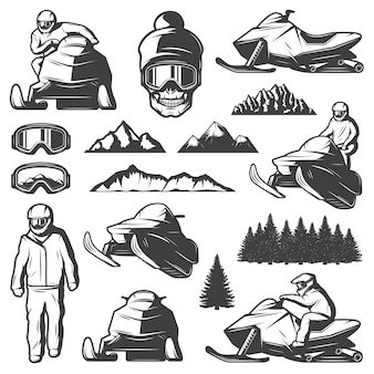 Kolekcja elementów sportów zimowych vintage