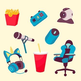 Kolekcja elementów streamera gry kreskówki