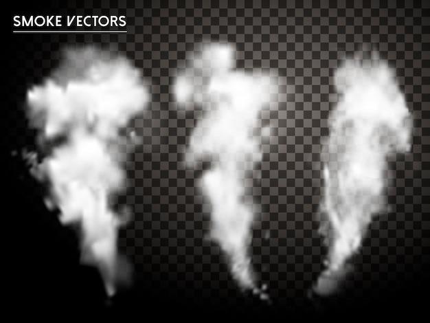 Kolekcja elementów streszczenie dymu na przezroczystym tle